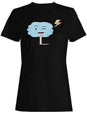 Smiley Nubes Trueno camiseta de las mujeres m969f