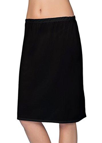 VEDATS Damen Unterrock Halbrock Unterkleid Jupon Knielang Schwarz Weiß Hautfarben S M L XL (M, Schwarz)