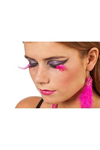 Jannes 34321 Elegante Künstliche Wimpern zum Ankleben Schwarz Weiß mit Feder extra Lang Pink Rosa Einheitsgröße Neon-Pink (Extra Lange Kostüm Wimpern)