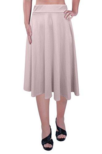 Aux Femmes Plus Taille Élastique Taille Dames Le Genou Longueur Plaine Patineur Évasé Jupe Tailles Crème