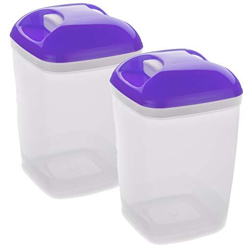 Set de 2 Coupelles hermeticos carrés avec couvercle séjour de 1,2 litres - BPA Free.