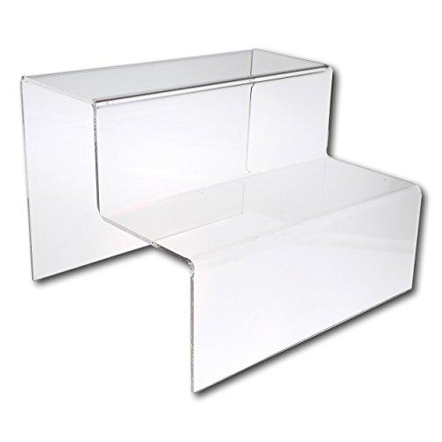 EPOSGEAR 2 niveles de pantalla de plástico acrílico transparente o de color para tienda – perfecto para tiendas, estrellas, adornos, modelos, etc, color transparente Large