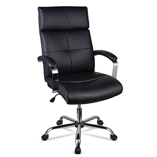 INTEY Fauteuil de Bureau Chaise de Bureau Haut de Gamme en Similicuir, Coussin en Eponge à Haute Densité, Hauteur Réglable, Design Ergonomique, Charge Maximum 120kg, Noir.