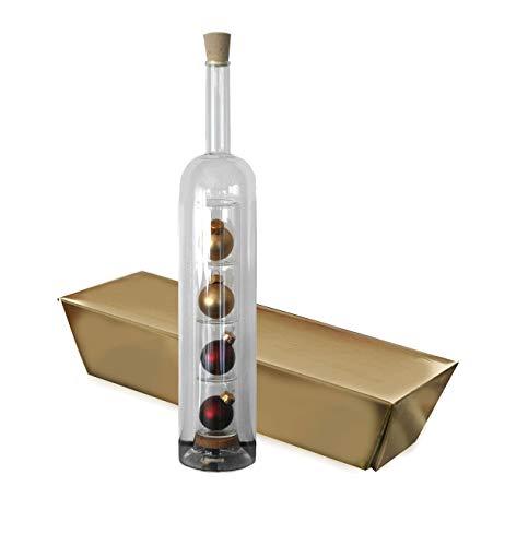Weihnachtsgeschenk Geschenkflasche Hohlraum mit Kugeln + Goldbarren Box