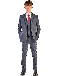 Romario - Traje de espiguilla para niño, Color Azul Marino, Traje de Boda, Traje de Pageboy, de 6 a 9 m a 14 años
