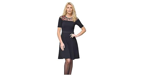 f5ca0a6b2c3 BLEU D AZUR Robe DANSANTE Noire Broderie Rouge Hiver Femme Bianca   Amazon.fr  Vêtements et accessoires