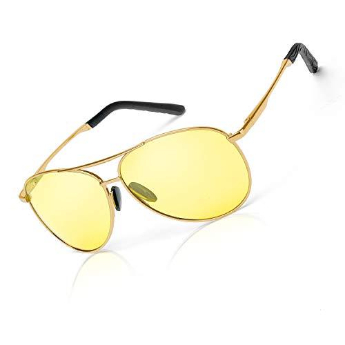 Clásico Aviador HD Gafas de Visión para Conduccion Nocturna Hombre Mujer Polarizadas Lente Amarilla Anti Reflectante - 100% UVA/UVB Protección (Oro Metal Lente de Noche)
