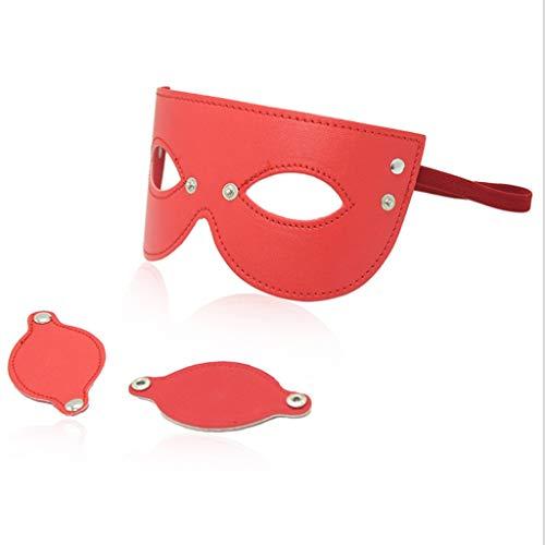 CSH Swimsuit Geeignet für Frauen oder Männer Alternatives Spielzeug Abnehmbare Augenbinden Rot Schwarz PU-Maske Bühnenmaske Blackout Eyes Mask Eye Relaxer Toys Jeans (Color : Red)