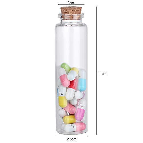 QiuLan Mensaje en una Botella Cápsula Letra Kawii Cara Sonriente píldora Botella de Deseos para Ella/él