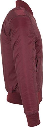 Urban Classics Herren Jacke - Basic Bomber Jacket, Bomberjacke mit aufgesetzter Tasche und Zipper am Arm (formstabile & elastische Bomber Jacke) Rot (burgundy 606)