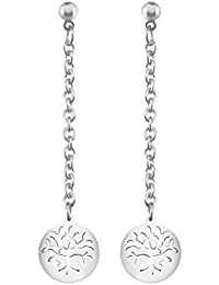 1198667408669c Stroili - Orecchini albero della vita in acciaio rodiato e cristalli per  Donna - Lady Chic
