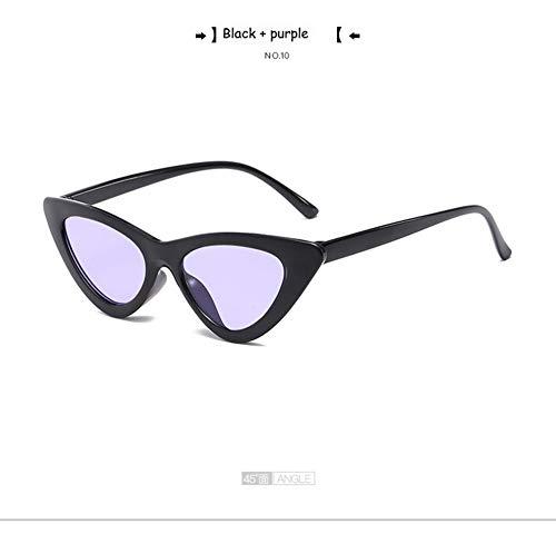 QDE Sonnenbrillen Niedliche Retro-Sonnenbrille Frauen Klein Schwarz Transparent Rosa Dreieck Vintage Billige Sonnenbrille Rot Weiblich Uv400, Schwarz Lila