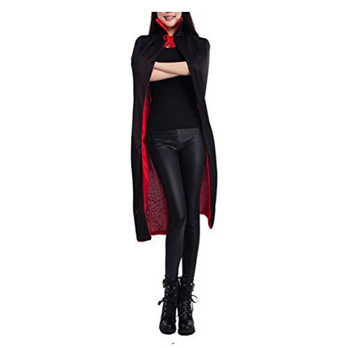 Zhhlinyuan Schwarz Rot Double Face Umhang - Schön Teufel Umhänge Knielänge Maskerade Kostüm Gothic ()