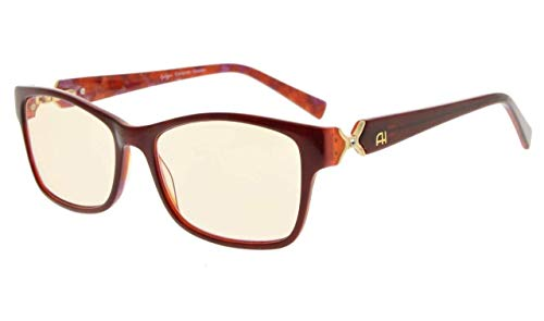 Eyekepper Bernstein getönte Brillengläser optical-quality Computer Lesebrille mit rx-able Acetat rahmen für Frauen UV- und blaues Licht Schutz