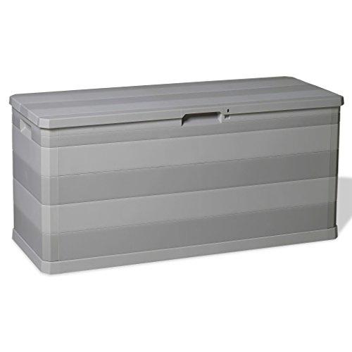 vidaXL Auflagenbox 280L Hellgrau Kissenbox Gartenbox Gartentruhe Kiste Garten