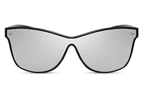 Cheapass Sunglasses Sonnenbrille Klassisch Schwarz Style mit verspiegelten Gläser silber UV400 Männer Frauen