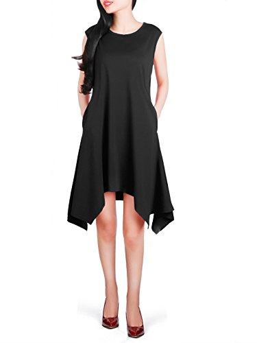 Anna Smith Taschentuch Hem Tunika, O Neck Kleid für Frauen Sleeve Less Taschentuch Hem Tank Tops mit Taschen Schmeichelhafte Plain Kleider L Schwarz