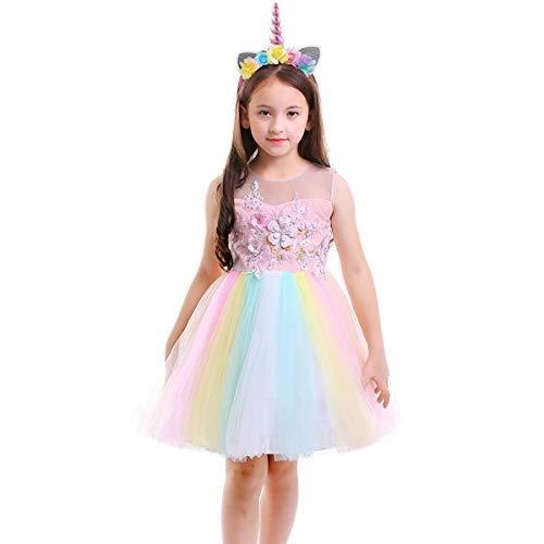 OwlFay Mädchen Einhorn Kostüm Blume Tulle Regenbogen Geburtstag Cosplay Party Hochzeit Prinzessin Kleid mit Einhorn Stirnband Weihnachten Karneval Neujahr Kinder Baby Kleidungsset 2tlg Rosa 11-12