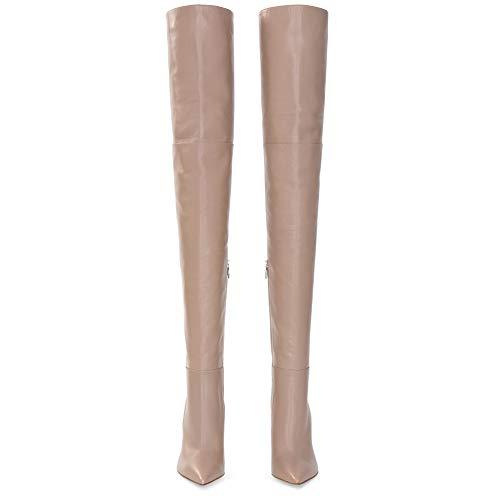 Knie Reitstiefel (GONGFF Frau Schwarz Wies Dicken High Heel Über Das Knie Stiefel Außenhandel Große Größe High Heel Nude Stiefel,#1,45)