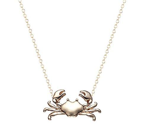 Gudeke Legierung Tierische Krabbe Brücke, Filzlaus, Karabiner, Läufer Strickjacke Kette Halskette Anhänger für Frauen (Gold) - Filzläuse