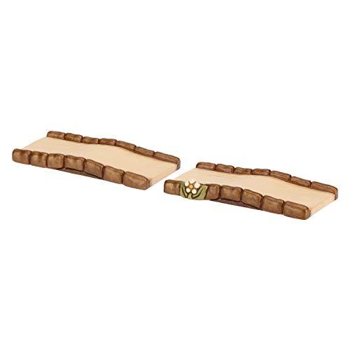 Thun® - set 2 pezzi strada dritta - statuine presepe classico - ceramica - i classici