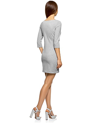 oodji Ultra Damen Jersey-Kleid Basic Grau (2000M)