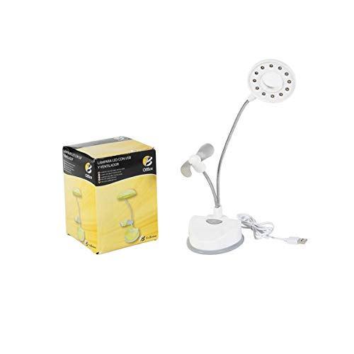Cisne 2013, S.L. LED Schreibtischlampe mit USB-Ventilator, Weiß Maße: 9 x 10 x 33 cm.