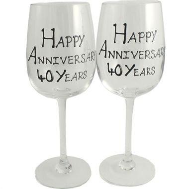 Froh 40. Jahr (Rubin) Jubiläum Wein Gläser Blk/Svr Blk-wein