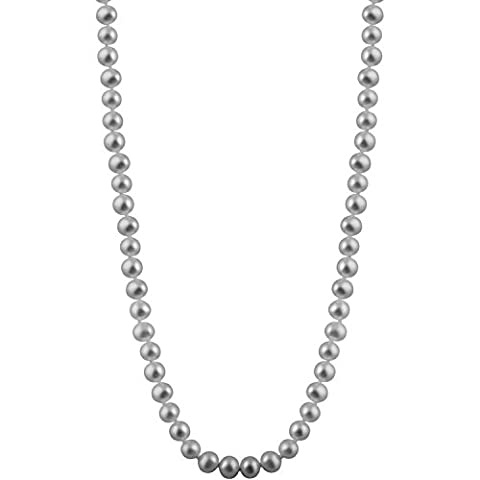 Bella Pearls Grey 6-6.5 mm Freshwater Pearl Strand 18 inch Necklace with Sterling Silver Clasp