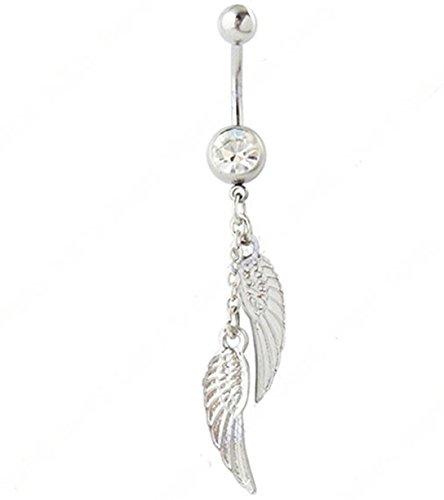 RichBest Trendy-Piercing per ombelico, a barra, con pendenti in cristallo, a forma di piuma & Body-Piercing alla moda