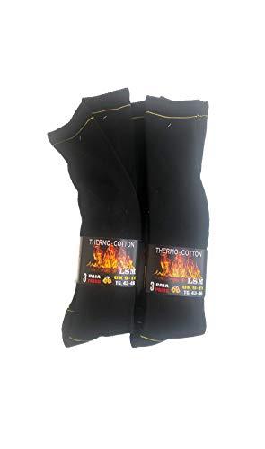 Lucchetti socks milano 6 paia calze termiche lunghe calzini uomo lunghi in cotone felpato termico (eu 39-42 uk 6-8, 6 paia nero)