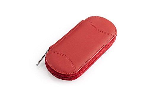 """Etui\""""Tellus\"""" rot leer Leder. Zur Bestückung mit Nagelscheren, Feilen, Pinzetten etc."""