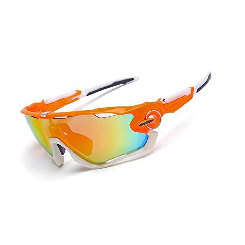 Coniea Motorradbrille Antibeschlag PC Radbrille Herren Winddicht Sport Sonnenbrillen Orange Weiß