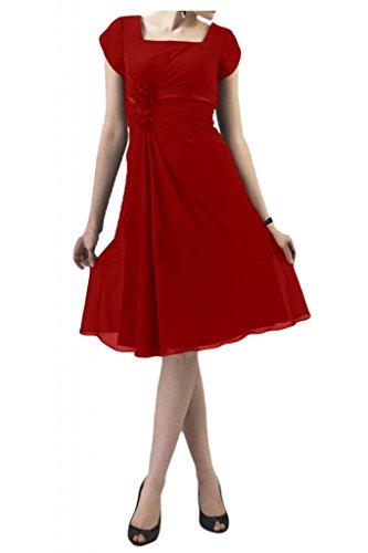 Basta manica corta TOSKANA sposa fiore abiti da sera per un Cocktail Party Chiffon al ginocchio ball vestimento Rosso