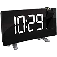 Houkiper Reloj del proyector, Pantalla LED Curva Ancha de 7.1 Pulgadas Pantalla FM Radio Reloj