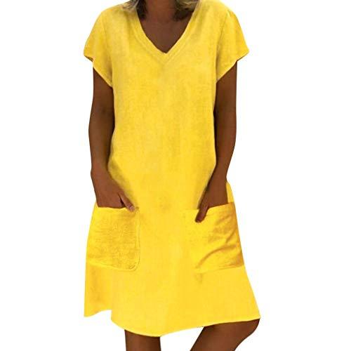 EUCoo Damen Leinen Kleid Sommer tropischen Stil Volltonfarbe V-Ausschnitt Tasche beiläufige lose (Pin Up Outfit)