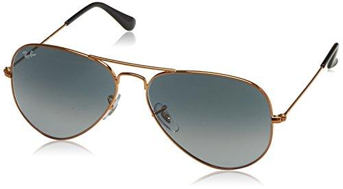RAYBAN JUNIOR Unisex-Erwachsene Sonnenbrille Aviator Shiny Bronze/Lightgreygradientdarkgrey, 58