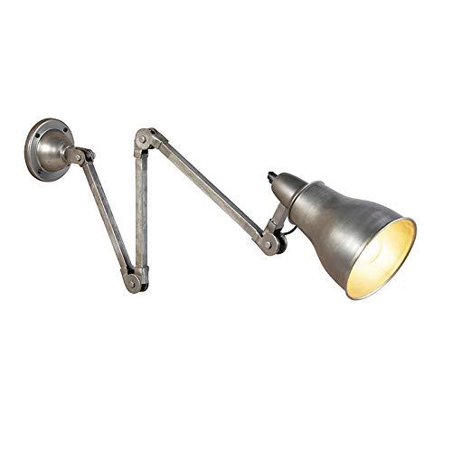 QAZQA Industriel/Rustique Applique Murale industrielle en zinc à bras articulé - Mersey Acier Gris,Acier Oblongue/Bio/Luminaire/Lumiere/Éclairage/intérieur/Salon/Cuisine