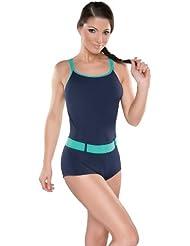 Damen Badeanzug mit Bein Schwimmanzug Hotpants mit Schwimmerrücken SK071
