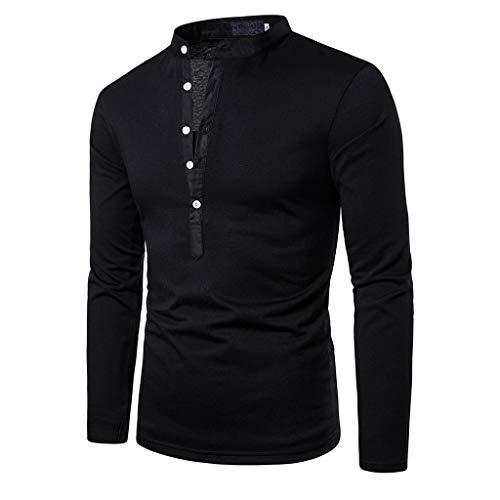 DNOQN Herren Langarmshirt Herren Patchwork Knopf Slim Fit Umlegekragen Langarm Top Bluse Shirt XL