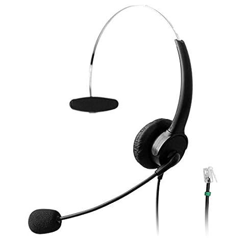 Wantek Téléphone RJ Casque Filaire avec Flexible Noise Cancelling Micro pour Ascom Audioline Gigaset Aastra Adtran BT Alcatel Lucent Avaya Interquartz Hybrex Ulytel Téléphones Fixes(510P2A)
