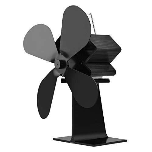 ium-Metall-4-Blatt Hitze Powered Log Brenner-Ofen Fan Mute Leichte Potrable Fan ()