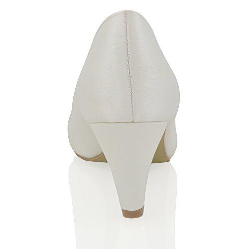 Essex Glam Scarpa Donna Matrimonio Peep Toe Tacco a Spillo Cinturino Posteriore Satinato Finto Diamante Avorio Satinato
