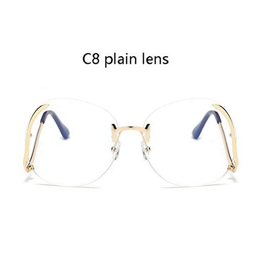 WAQWYQ Gläser Randlose klare Sonnenbrille Frauen Brille transparent weibliche Steigung Sonnenbrille Retro Metall Sonnenbrille übergroßen Schatten