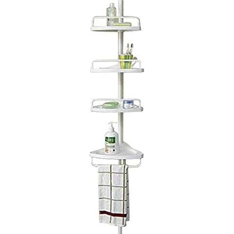 BSL Étagère d'angle télescopique 4 niveaux pour salle de bains