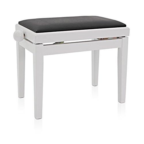 Gear4music Klavierhocker, Verstellbar, Weiß