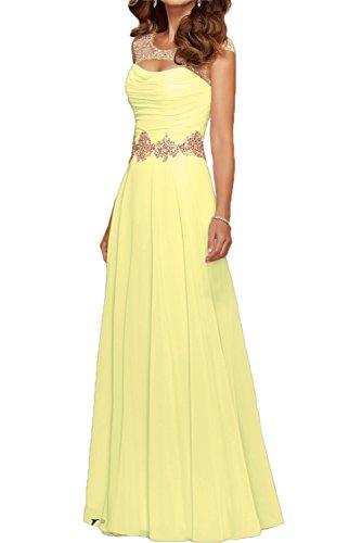 Gorgeous Bride Modisch Rundkragen A-Linie Chiffon Tuell Abendkleider Festkleider Ballkleider Lang Daffodil
