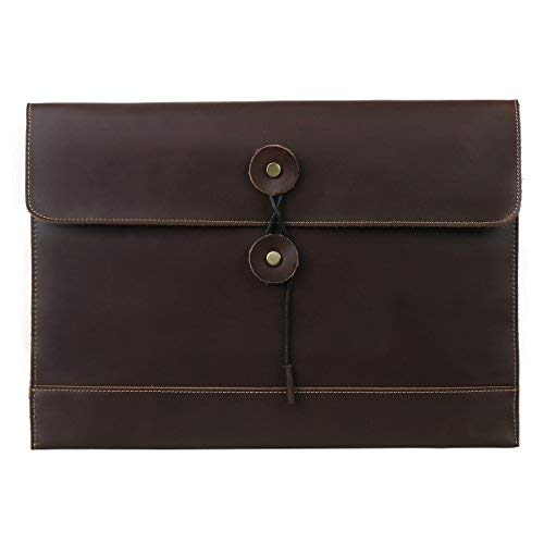 Leathario sobres para archivo de piel autentico carpetas portadocumentos organizador de cuero for MacBook Air para oficina o clase A4 documento para hombre y mujer de color café