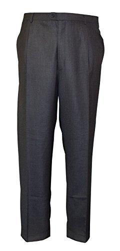 Herren Poly-Viskose flache Vorderseite Hose(Freddie) in Grau Taille 40 to 60 Inch, S/ R/ L - grau, 56 Regular (Taille Flache Hose)