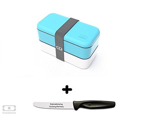 Monbento Original himmelblau / weiß - Die Bento-Box + Edelstahlstyling Universalmesser GRATIS